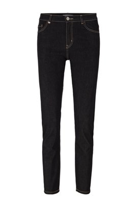 Cropped slim-fit jeans in black super-stretch denim, Black