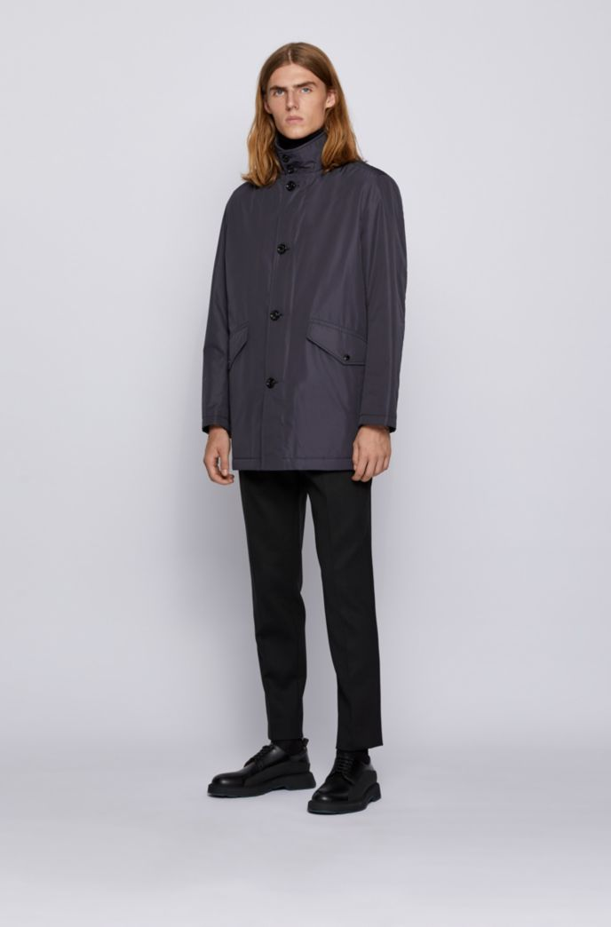 Funnel-neck car coat with knitted inner collar
