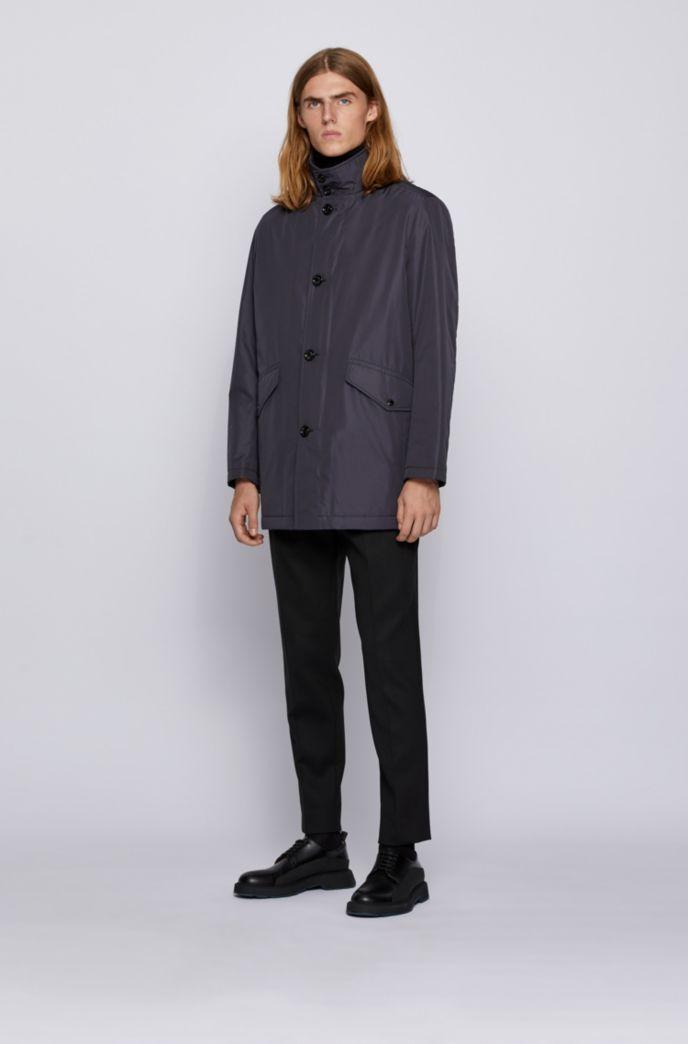 Cappotto corto con collo a imbuto e colletto interno in maglia
