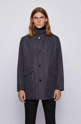 Cappotto corto con collo a imbuto e colletto interno in maglia, Blu scuro