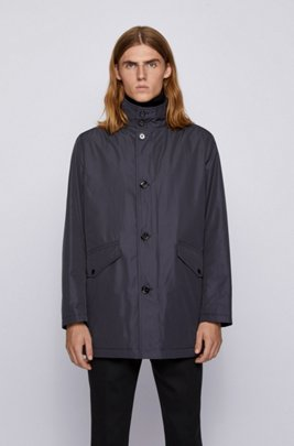Funnel-neck car coat with knitted inner collar, Dark Blue