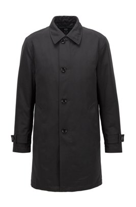 Regular-fit overcoat in recycled memory fabric, Black