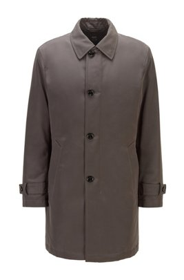 Regular-fit overcoat in recycled memory fabric, Grey