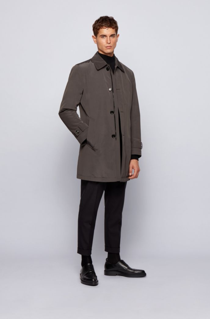 Regular-fit overcoat in recycled memory fabric