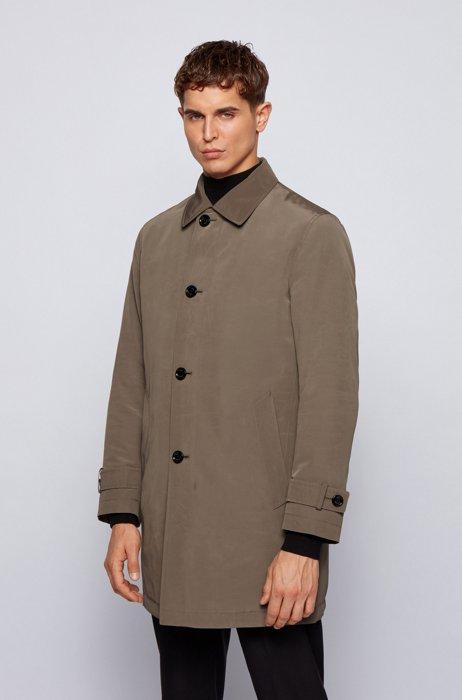 Regular-fit overcoat in recycled memory fabric, Khaki
