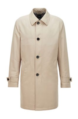 Regular-fit overcoat in recycled memory fabric, Light Beige