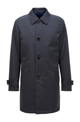 Regular-fit overcoat in recycled memory fabric, Dark Blue
