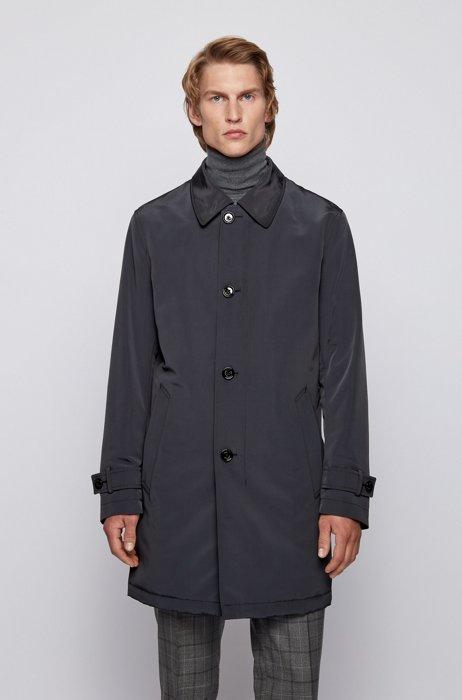 Regular-fit overcoat in recycled memory fabric, Dark Blue