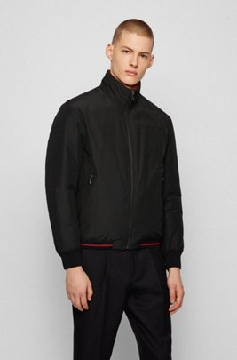 Reversible blouson jacket with zipped pockets, Black