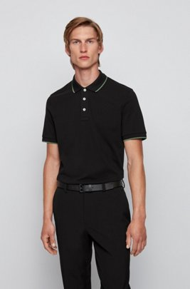 Polo shirt in organic cotton and recycled yarns, Black