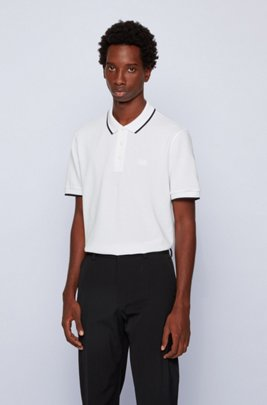 Polo shirt in organic cotton and recycled yarns, White