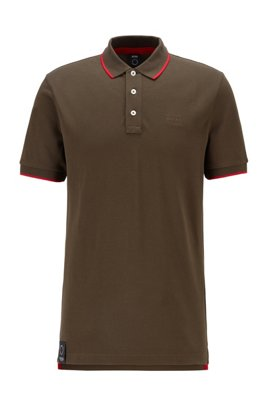 Polo shirt in organic cotton and recycled yarns, Dark Green