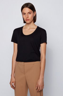 Relaxed-fit T-shirt in Pima cotton and modal, Black