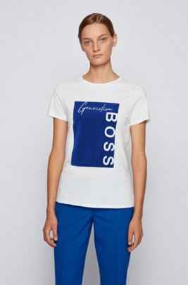 Logo-print T-shirt in organic cotton, White