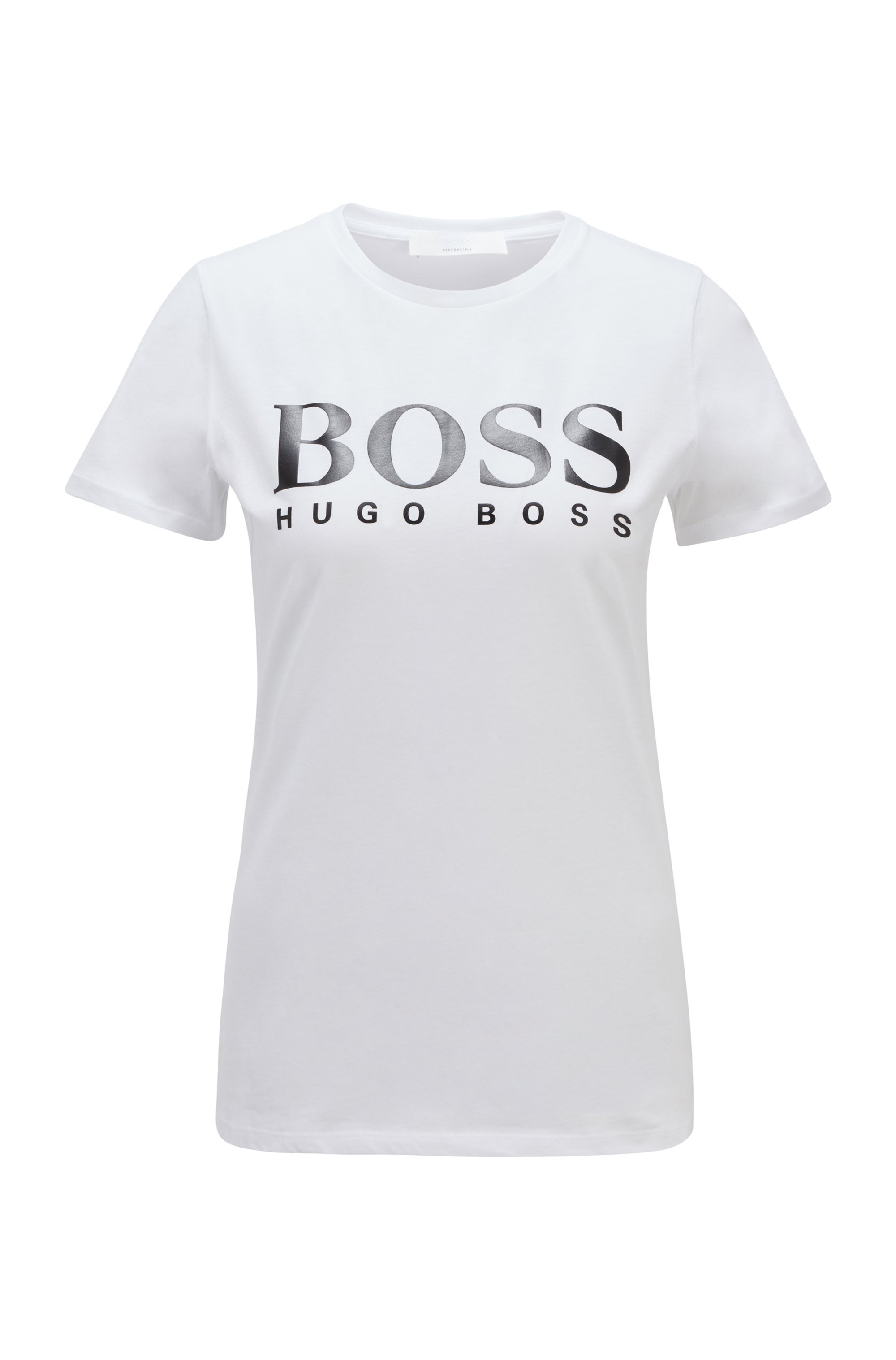 Logo-print T-shirt in organic-cotton jersey, White