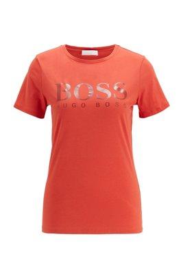 T-shirt in jersey van biologische katoen met logoprint, Donkeroranje
