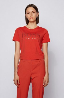 Logo-print T-shirt in organic-cotton jersey, Dark Orange