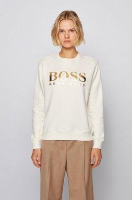 Sweater van sweatstof met gemengde logoprint, Wit