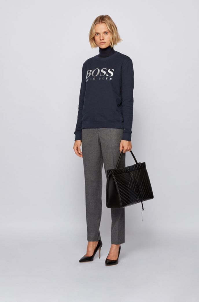 French-terry sweatshirt with mixed-print logo
