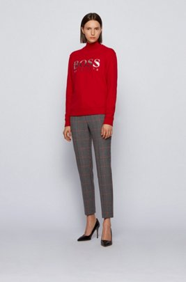 French-terry sweatshirt with mixed-print logo, Red