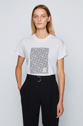 Relaxed-fit T-shirt in Recot²® cotton with monogram embroidery, Patterned