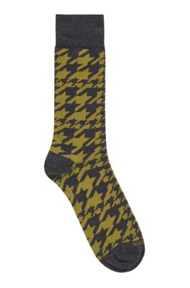 Regular-length socks in cotton blend with houndstooth pattern, Dark Grey