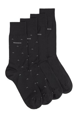 Two-pack of socks in a mercerised-cotton blend, Black
