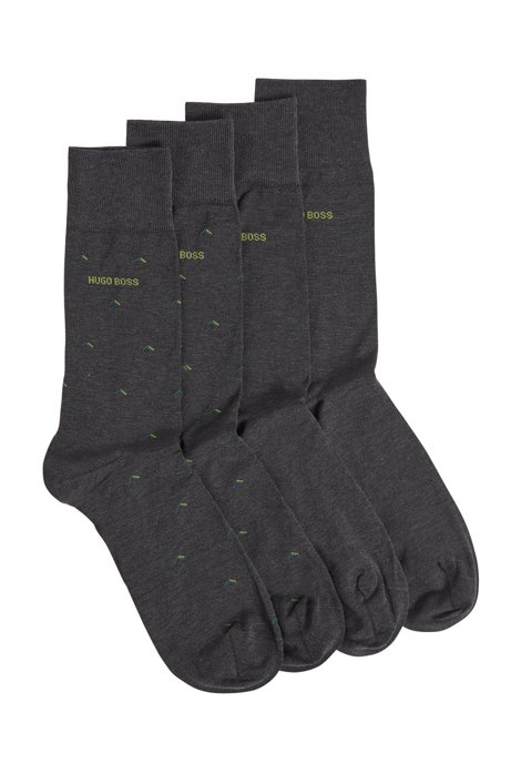 Two-pack of socks in a mercerised-cotton blend, Dark Grey