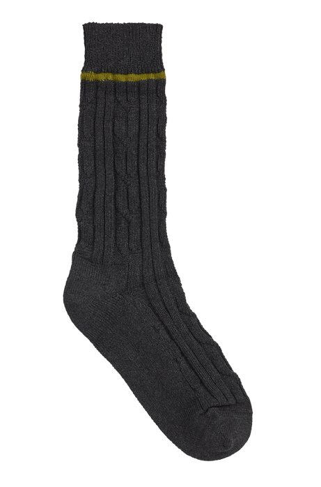 Boot socks with braid and rib structure, Dark Grey