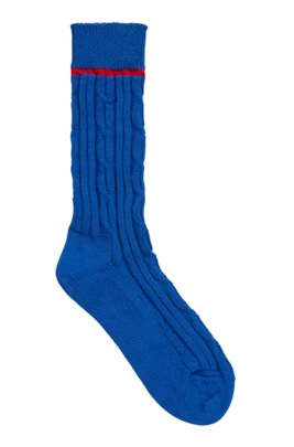 Boot socks with braid and rib structure, Light Blue