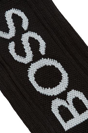 徽标装饰棉混纺短袜,  001_黑色