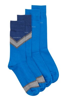 Two-pack of regular-length socks in combed fabric, Light Blue