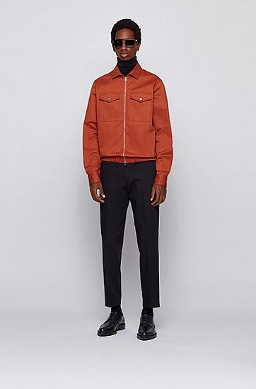 厚斜纹棉常规版衬衫,  844_淡橙色