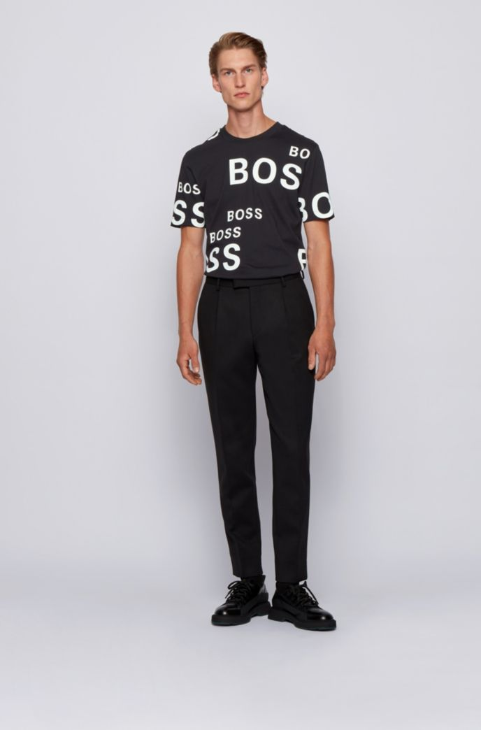 Cotton T-shirt with all-over logos