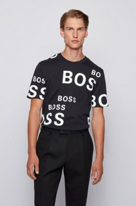 Cotton T-shirt with all-over logos, Black