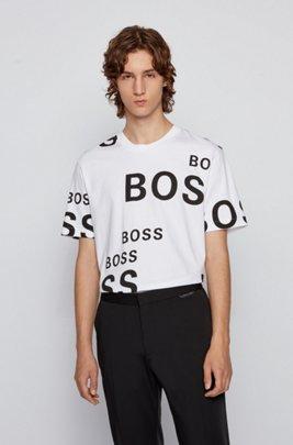 T-Shirt aus Baumwolle mit Allover-Logos, Weiß