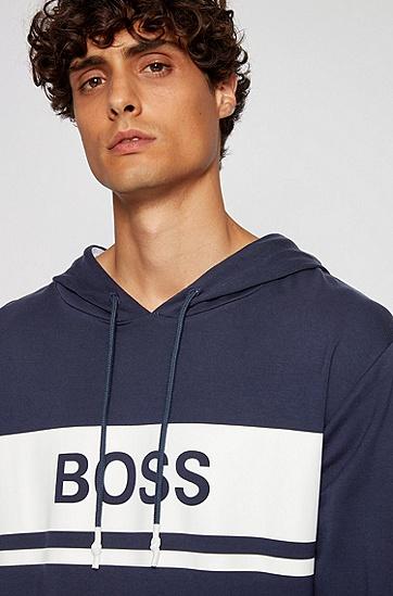 轻盈法国毛圈布徽标连帽衫,  402_暗蓝色