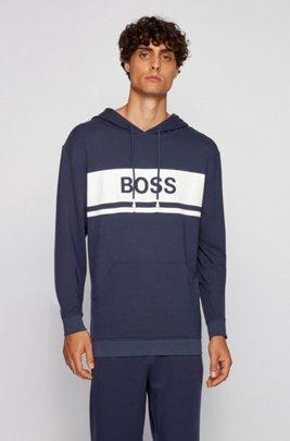 Logo hoodie in lightweight French terry, Dark Blue