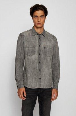 Regular-fit overhemd van zwart ringgesponnen denim, Zwart