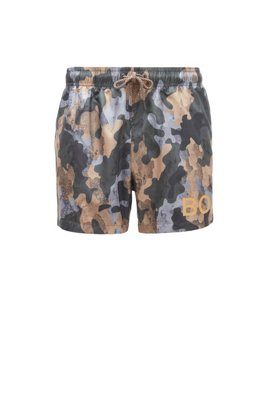 Camouflage-print swim shorts in quick-dry ripstop fabric, Light Green
