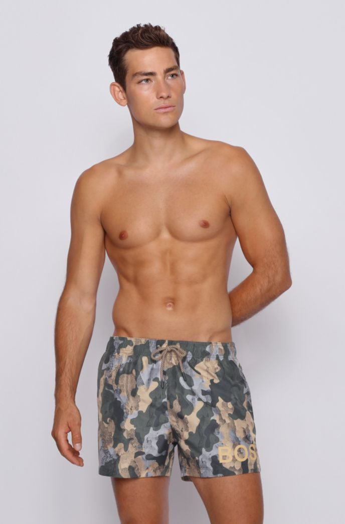 Camouflage-print swim shorts in quick-dry ripstop fabric