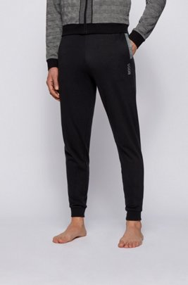 Interlock-cotton tracksuit bottoms with embroidered logo, Black