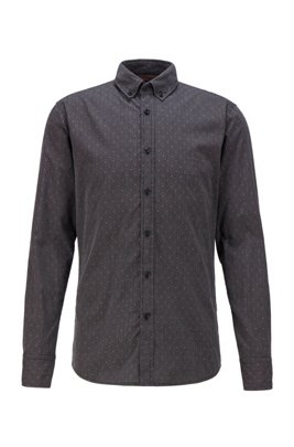 Slim-fit shirt in stretch-cotton dobby, Black