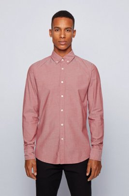 Slim-fit shirt in stretch-cotton dobby, Light Red