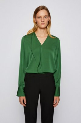 Regular-fit blouse in crêpe de Chine van een zijdemix, Kalk