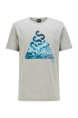 Katoenen T-shirt met glow-in-the-dark logothema, Lichtgrijs