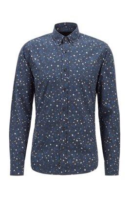 Slim-Fit Hemd aus Baumwoll-Popeline mit Marble Print, Schwarz