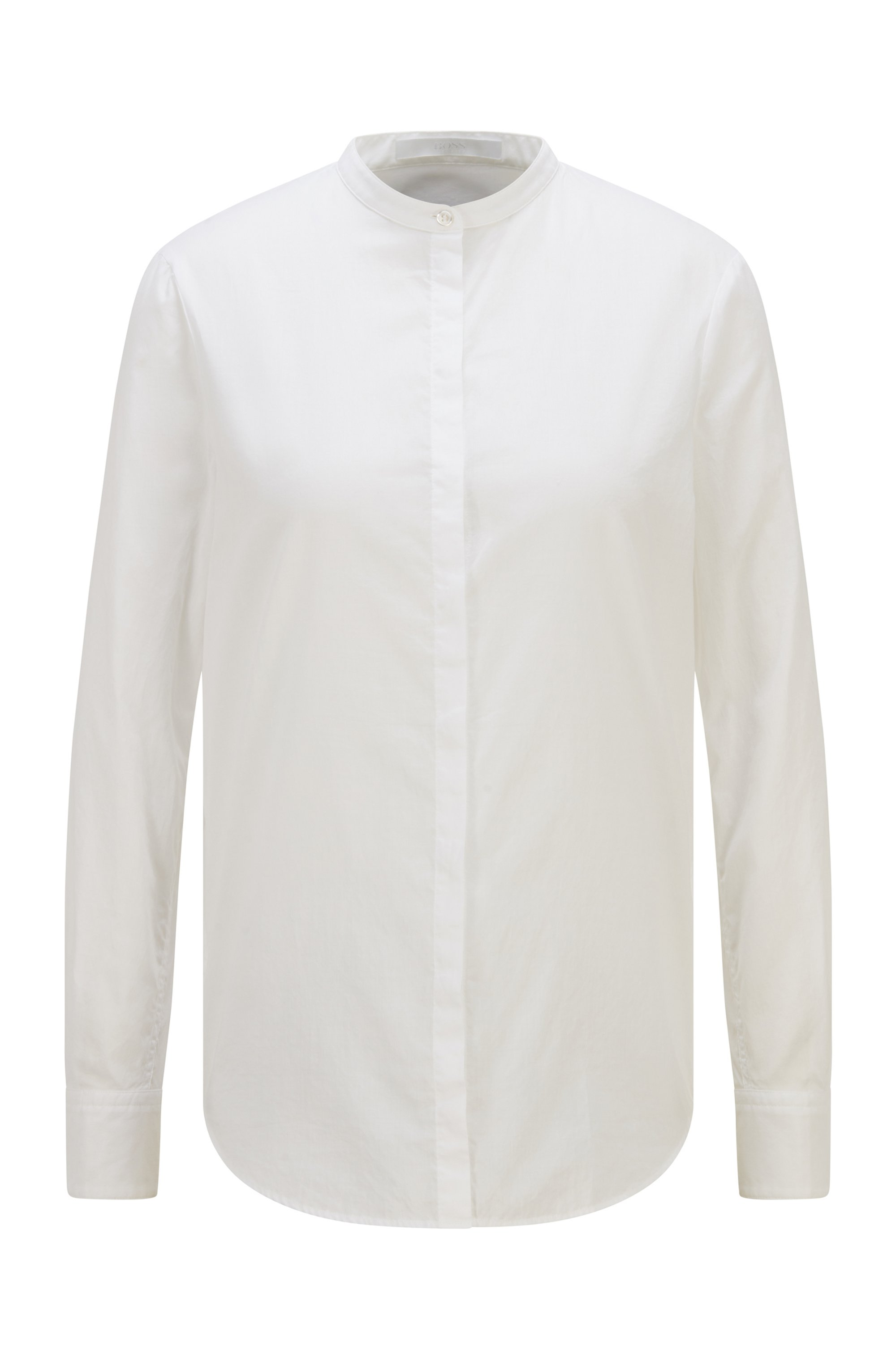 Relaxed-fit chambray blouse with roll-up sleeves, White