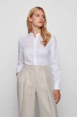 Relaxed-Fit Bluse aus Chambray mit Ärmeln zum Umkrempeln, Weiß