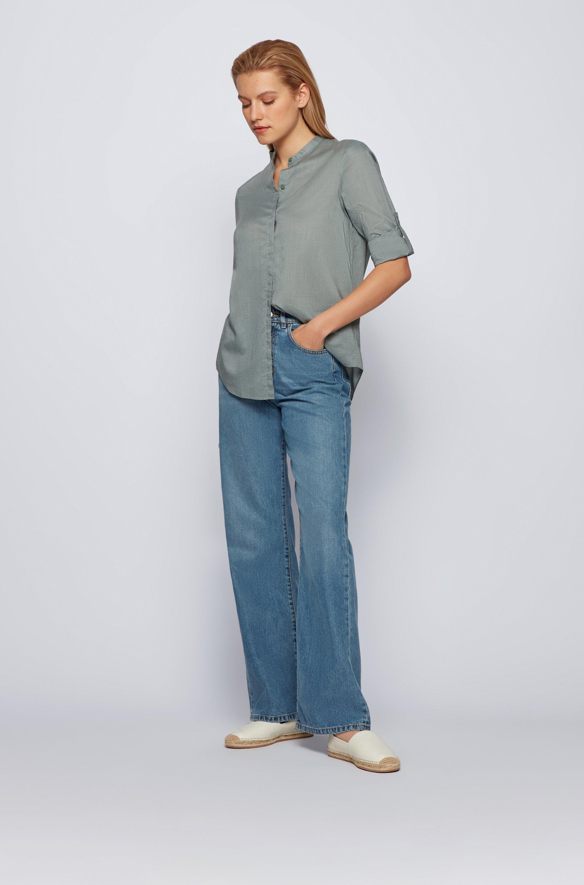 Relaxed-Fit Bluse aus Chambray mit Ärmeln zum Umkrempeln